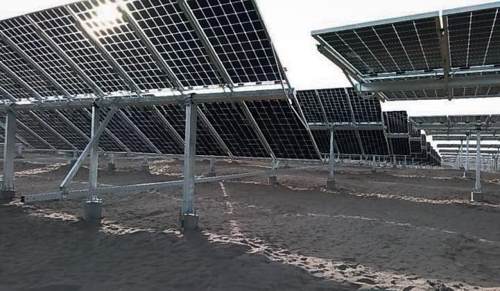 solar farm with bifacial photovoltaic modules